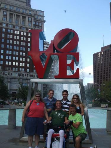Family at LOVE fountain